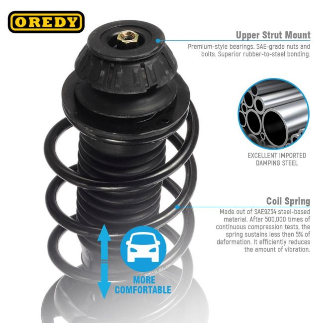 OREDY Front Left /& Right Side 2PCS Complete Shock Strut Coil Springs Assembly Kit 1335383L 1335383R 11805 11806 Compatible with Toyota Yaris FWD 2006 2007 2008 2009 2010 2011 2012 2013 2014